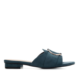 Ring Flat Sandals in Blue Suede