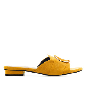 Ring Flat Sandals in Mustard Suede