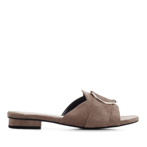 Ring Flat Sandals in Earth-coloured Suede