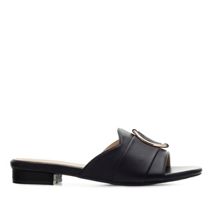 Ring Flat Sandals in Black faux Leather