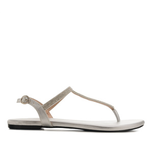 Sandalias T-Bar Brillo Plata