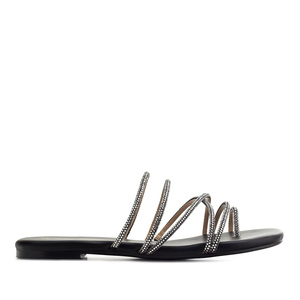 Toe Sandals in Black faux Leather with Strass