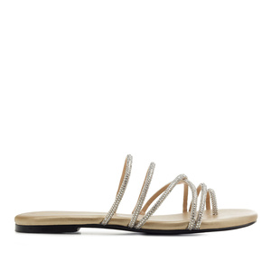 Toe Sandals in Gold faux Leather with Strass