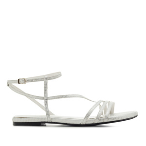 Fine Strap Flat Sandals in engraved White