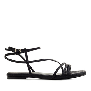 Fine Strap Flat Sandals in engraved Black