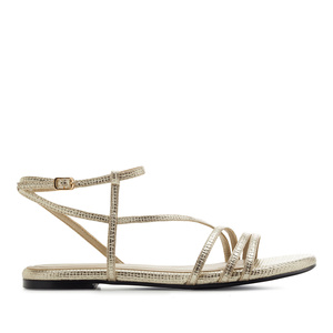 Fine Strap Flat Sandals in engraved Gold