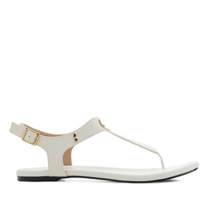 T-Bar Toe Sandals in engraved White
