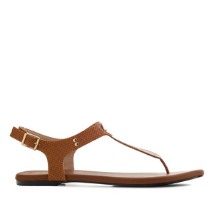 T-Bar Toe Sandals in engraved Brown