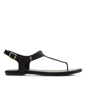 T-Bar Toe Sandals in engraved Black