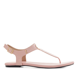 T-Bar Toe Sandals in engraved Rose
