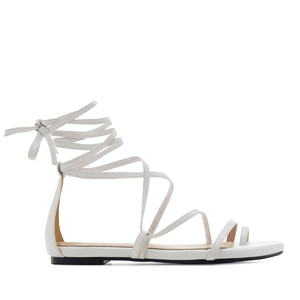 Strappy Sandals in White faux Leather