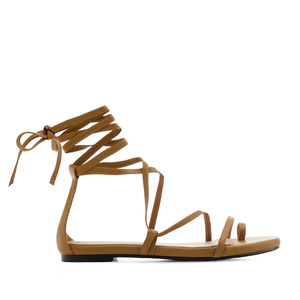 Strappy Sandals in Brown faux Leather