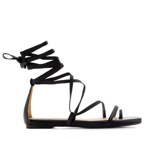Strappy Sandals in Black faux Leather