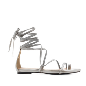 Strappy Sandals in Silver faux Leather