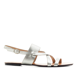 Flat Sandals in Silver faux Leather