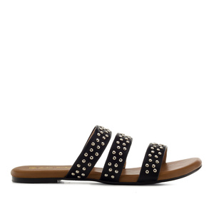Tack Flat Sandals in Black faux Leather