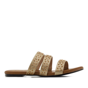 Tack Flat Sandals in Gold faux Leather