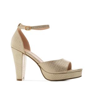 Elegantní sandále na vysokém podpatku. Zlaté.