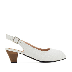 Peep Toe Slingbacks in engraved White
