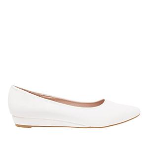 Baletanke sa blagim špicem, bele sa šarom