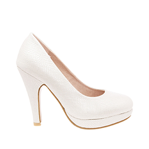 Salones Pumps en Grabado Blanco y Tacon Stiletto.