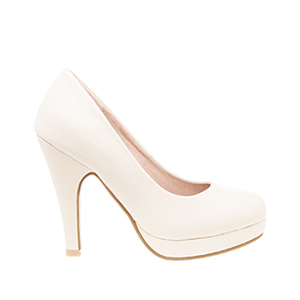 Beige faux Leather High Heel Pumps