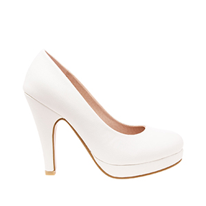 White faux Leather High Heel Pumps