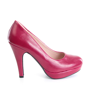Magenta faux Leather High Heel Pumps