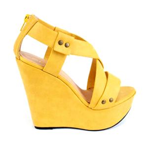 Visoke sandale na platformu sa nitnama, žute