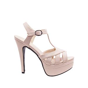 Sandale sa visokom štiklom i platformom, bež
