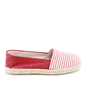 Beach shoes in Red Canvas with stripes.