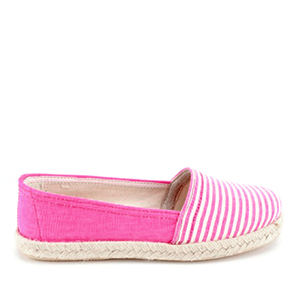 Beach shoes in Rose Canvas with stripes.