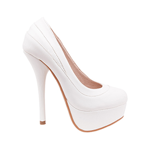 Cipele sa veoma visokom potpeticom i platformom, bele