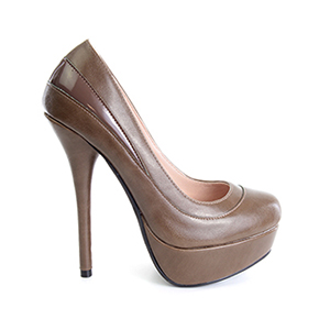 Cipele sa veoma visokom potpeticom i platformom, svetlo braon