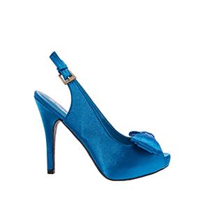 Sandalias Peep-Toes en Raso Azulon