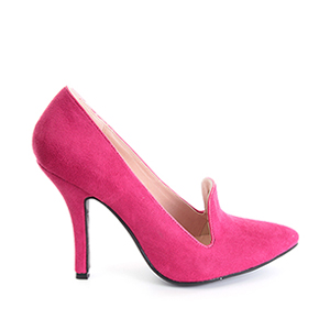 Slipper en Ante Fucsia con Tacon Stiletto