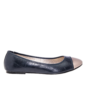 Navy faux Soft-Leather Ballerinas, with Silver metallic toe cap