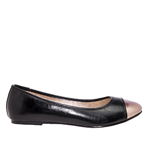 Black faux Soft-Leather Ballerinas, with Silver metallic toe cap