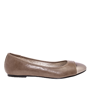 Taupe faux Soft-Leather Ballerinas, with Silver metallic toe cap