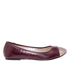 Burgundy faux Soft-Leather Ballerinas, with Silver metallic toe cap