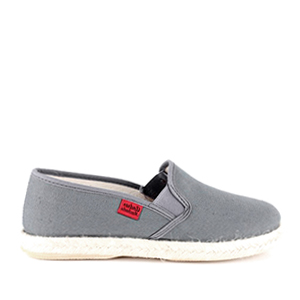 Shoes made of dark grey canvas, sole of rubber and jute.