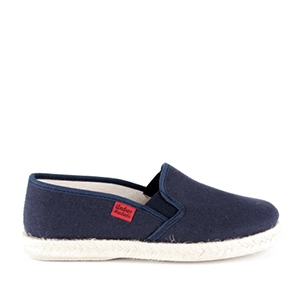 Shoes made of dark blue canvas, sole of rubber and jute.