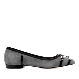 Bow Ballet Flats in Grey Suede Leather