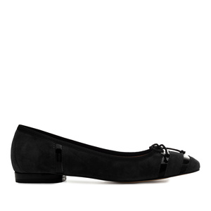 Bow Ballet Flats in Black Suede Leather