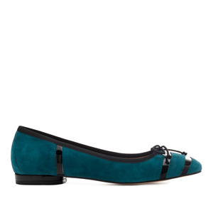 Bow Ballet Flats in Deep Blue Suede Leather