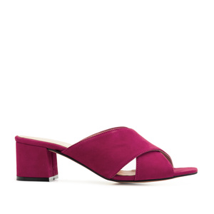 Crossover Mules in Fuchsia Suede Leather