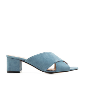 Crossover Mules in Sky Blue Suede Leather