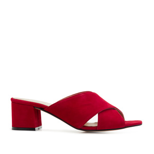 Crossover Mules in Red Suede Leather