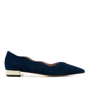 Waved Upper Ballet Flats in Navy Nappa Leather