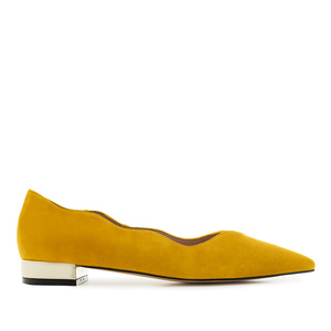 Waved Upper Ballet Flats in Mustard Nappa Leather